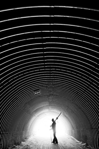 Skier in a tunnel
