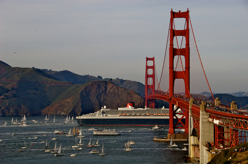 Cruise Ship Enters under the Golden Gate Bridge