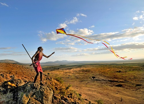 Maasai Warrior and the Kite