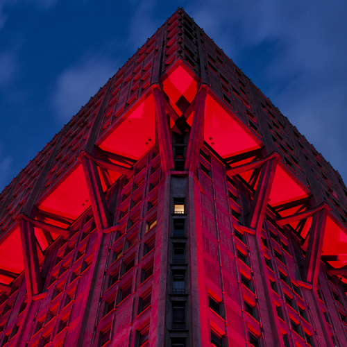 #16042370, Velasca Tower lit up in red by Ingo Maurer