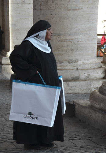 Nun with the Lacoste Shoppers