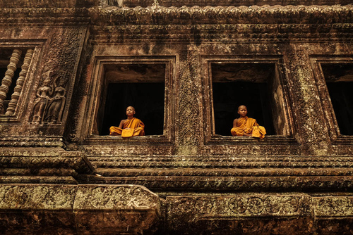 Novice Monks, Angkor Wat, Cambodia (2)