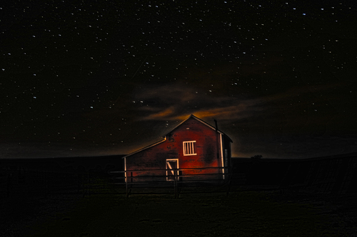 Red Barn at Midnight
