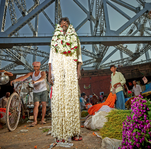 Tall Flower Man under the Bridge