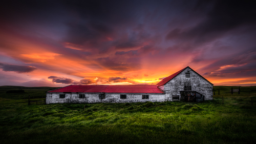 Icelandic Barn at Sunset